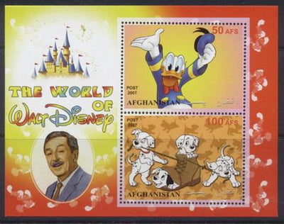 Afghanistan 2007 world of disney miniature sheet #1 2 values