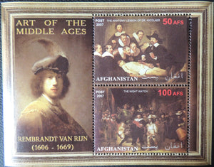 Afghanistan 2007 art of the middle ages rembrandt van rijn miniature sheet 2 values