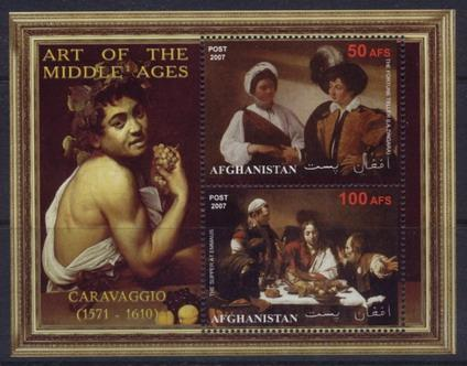 Afghanistan 2007 art of the middle ages caravaggio miniature sheet 2 values
