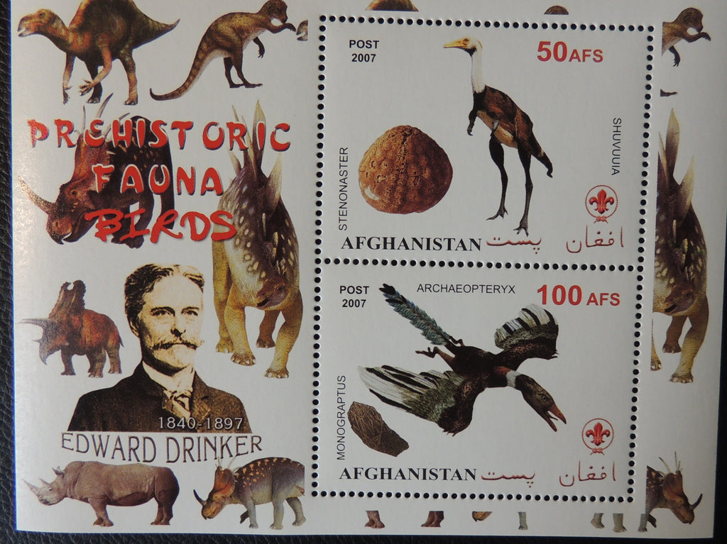 Afghanistan 2007 prehistoric fauna birds edward drinker miniature sheet 2 values