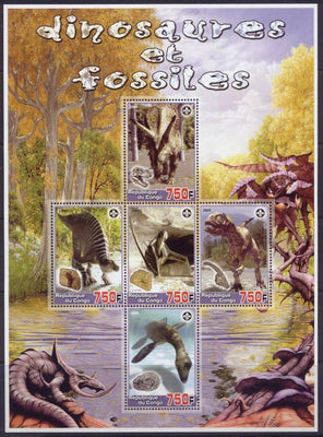Congo 2005 dinosaurs and fossils miniature sheet 5 values
