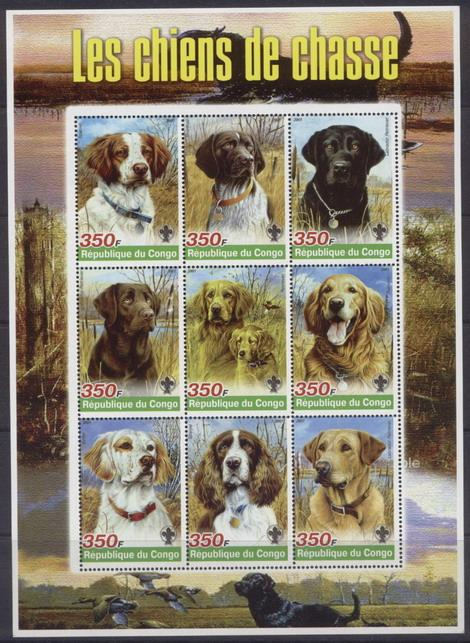Congo 2005 hunting dogs miniature sheet 9 values