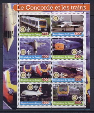 Congo 2005 concorde and trains miniature sheet 5 values #1