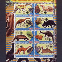 Congo 2005 dinosaurs and minerals miniature sheet 8 values #1