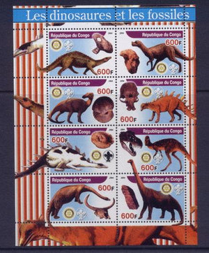 Congo 2005 dinosaurs and fossils miniature sheet 8 values #1