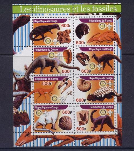 Congo 2005 dinosaurs and fossils miniature sheet 8 values #2