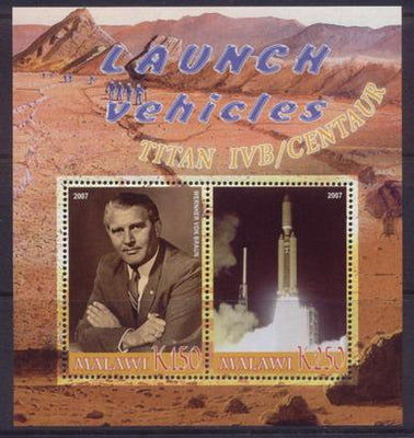 Malawi 2007 Launch vehicles titan IVB/centaur miniature sheet 2 values