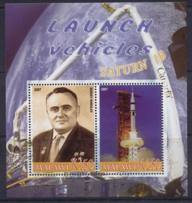 Malawi 2007 Launch vehicles satrurn IB miniature sheet 2 values