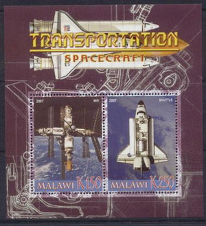 Malawi 2007 transportation spacecraft miniature sheet #1 2 values
