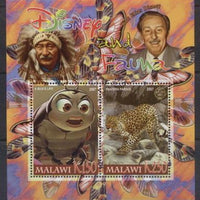 Malawi 2007 disney and fauna miniature sheet #1 2 values