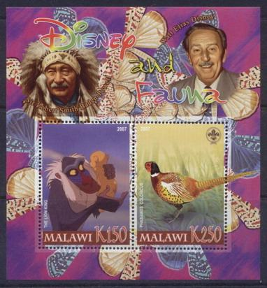 Malawi 2007 disney and fauna miniature sheet #10 2 values