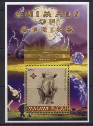 Malawi 2005 animals of africa rhinoceros souvenir sheet
