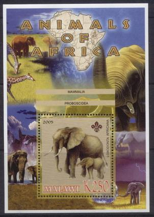 Malawi 2005 animals of africa bush elephant souvenir sheet
