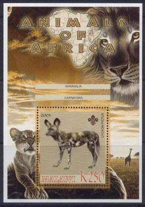 Malawi 2005 animals of africa wild dog souvenir sheet