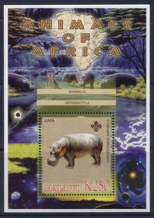 Malawi 2005 animals of africa hippopotamus souvenir sheet