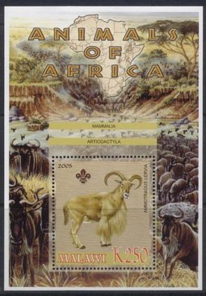 Malawi 2005 animals of africa barbary sheep souvenir sheet