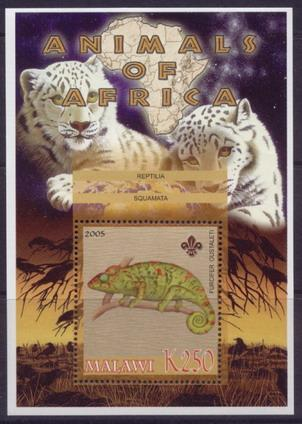 Malawi 2005 animals of africa Malagasy giant chameleon souvenir sheet