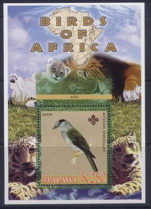 Malawi 2005 birds of africa Cuckoo roller souvenir sheet
