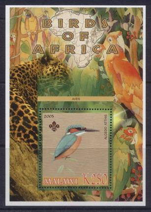 Malawi 2005 birds of africa kingfisher souvenir sheet