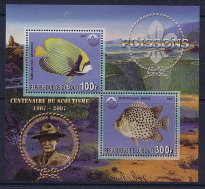 Djibouti 2007 scouting centenary fish miniature sheet 2 values