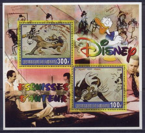 Djibouti 2006 disney author's sketches miniature sheet 2 values