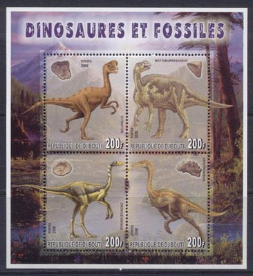 Djibouti 2006 dinosaurs and fossils miniature sheet 4 values #2