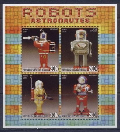 Djibouti 2006 robots astonauts miniature sheet 4 values