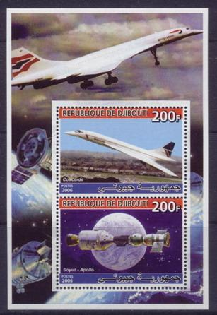 Djibouti 2006 concorde souvenir sheet 2 values #1