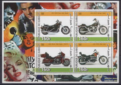 Djibouti 2005 motorbikes miniature sheet 4 values