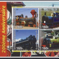 Djibouti 2005 200th anniversary locomotives miniature sheet 4 values