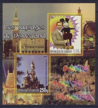 Djibouti 2007 disneyland miniature sheet 2 values #1