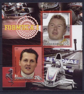 Djibouti 2007 formula 1 miniature sheet 2 values #1