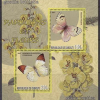 Djibouti 2007 butterflies and flowers miniature sheet 2 values #2
