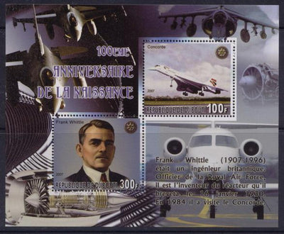 Djibouti 2007 100th anniversary birth frank whittle miniature sheet 2 values