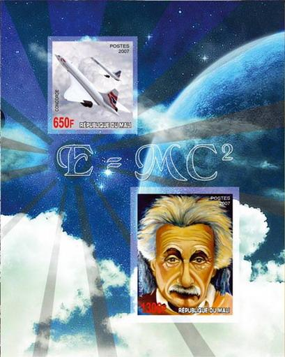 Mali 2007 concorde einstein miniature sheet 2 values perf