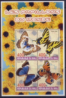 Mali 2005 butterflies of the world miniature sheet 4 values