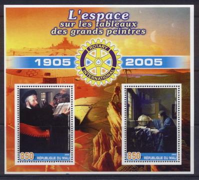 Mali 2005 great artists -  space miniature sheet 2 values #3