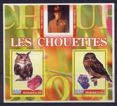 Mali 2005 owls miniature sheet 2 values
