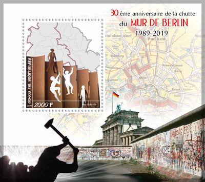 Congo 2019 Souvenir Sheet 30th anniversary end of the berlin wall