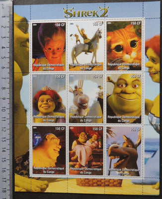 Congo 2005 shrek 2 cartoons movies cinema women m/sheet MNH