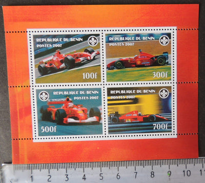 Benin 2007 sport car racing formula one ferrari scouts m/sheet MNH