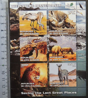 Ivory Coast 2003 animals elephants cats lions zebra birds rhino m/sheet MNH