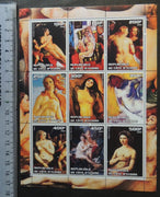 Ivory Coast 2003 art botticelli carracci matisse rubens degas munch titian boucher nudes women m/sheet MNH