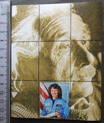 Laos 1999 einstein science physics christa mcaullife challenger disaster space women souvenir sheet MNH