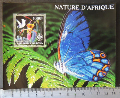 Benin 2006 african nature insects butterflies orchids flowers scouts souvenir sheet MNH