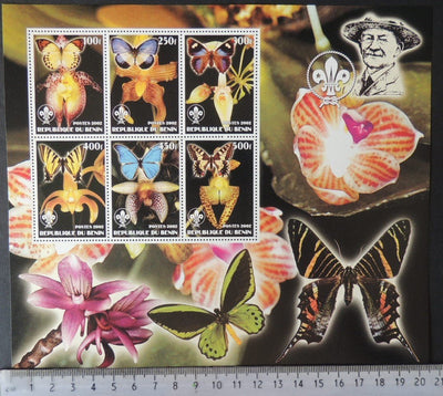 Benin 2002 insects butterflies scouts baden powell flowers orchids large m/sheet 6 values MNH