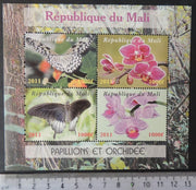Mali 2011 insects butterflies flowers orchids m/sheet MNH