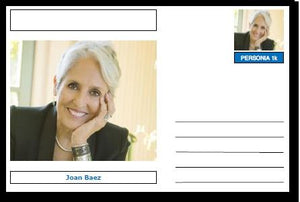 "Personalities - souvenir postcard (glossy 6""x4"", 260 gsm card) - Joan Baez - unused and superb"