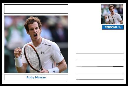 "Personalities - souvenir postcard (glossy 6""x4"", 260 gsm card) - Andy Murray - unused and superb"