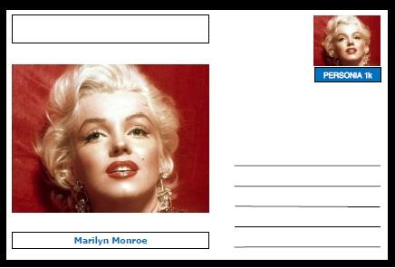 "Personalities - souvenir postcard (glossy 6""x4"", 260 gsm card) - Marilyn Monroe - unused and superb"